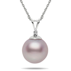 10-11mm Pink Freshwater Pearl And Diamond Pendant