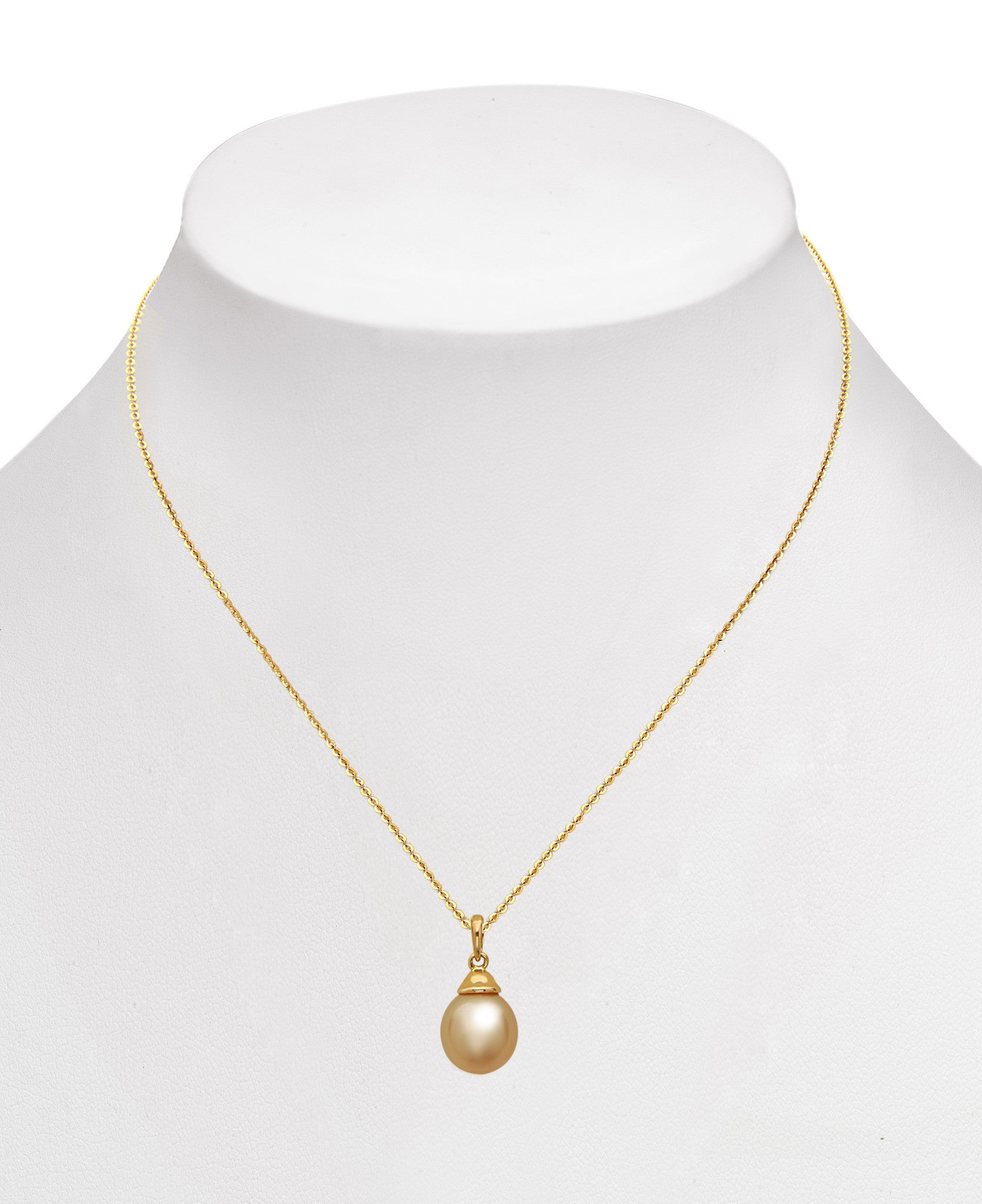 9-10mm Golden South Sea Pearl Pendant Necklace