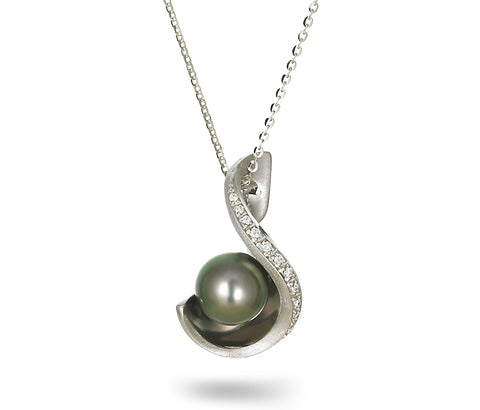 Leaf Collection 10-11mm Tahitian Pearl and Diamond Ring
