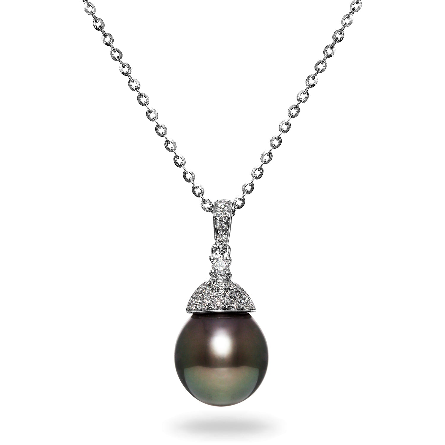 10-11mm Tahitian Cultured Pearl and Diamond Pendant Necklace