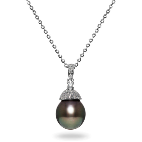 Classic Collection 9-10mm Tahitian Cultured Pearl and Diamond Ring