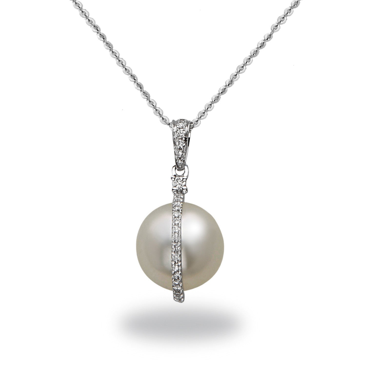 Galaxy Collection 12-13mm Collection White South Sea Pearl and Diamond Pendant