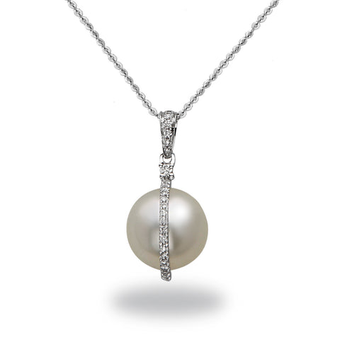 9-10mm White South Sea Cultured Pearl and Diamond Pendant Necklace
