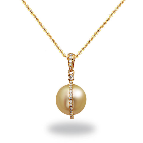 Galaxy Collection 12-13mm Collection Golden South Sea and Diamond Pendant Necklace