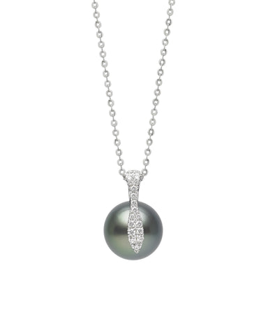 Modern 9-10mm Tahitian Pearl And Diamond Pendant