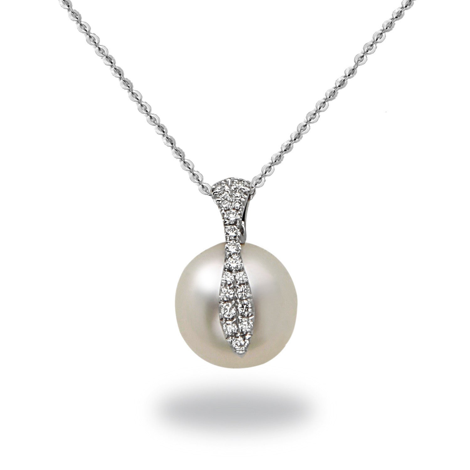Galaxy Collection 12-13mm Collection White South Sea Pearl and Diamond Pendant Necklace
