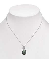 Leaf Collection 10-11mm Tahitian Pearl and Diamond Pendant
