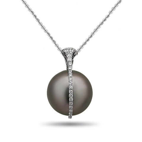 Galaxy Collection 12-13mm Tahitian Pearl and Diamond Necklace
