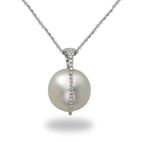 Galaxy Collection 11-12mm Collection Golden South Sea and Diamond Pendant Necklace