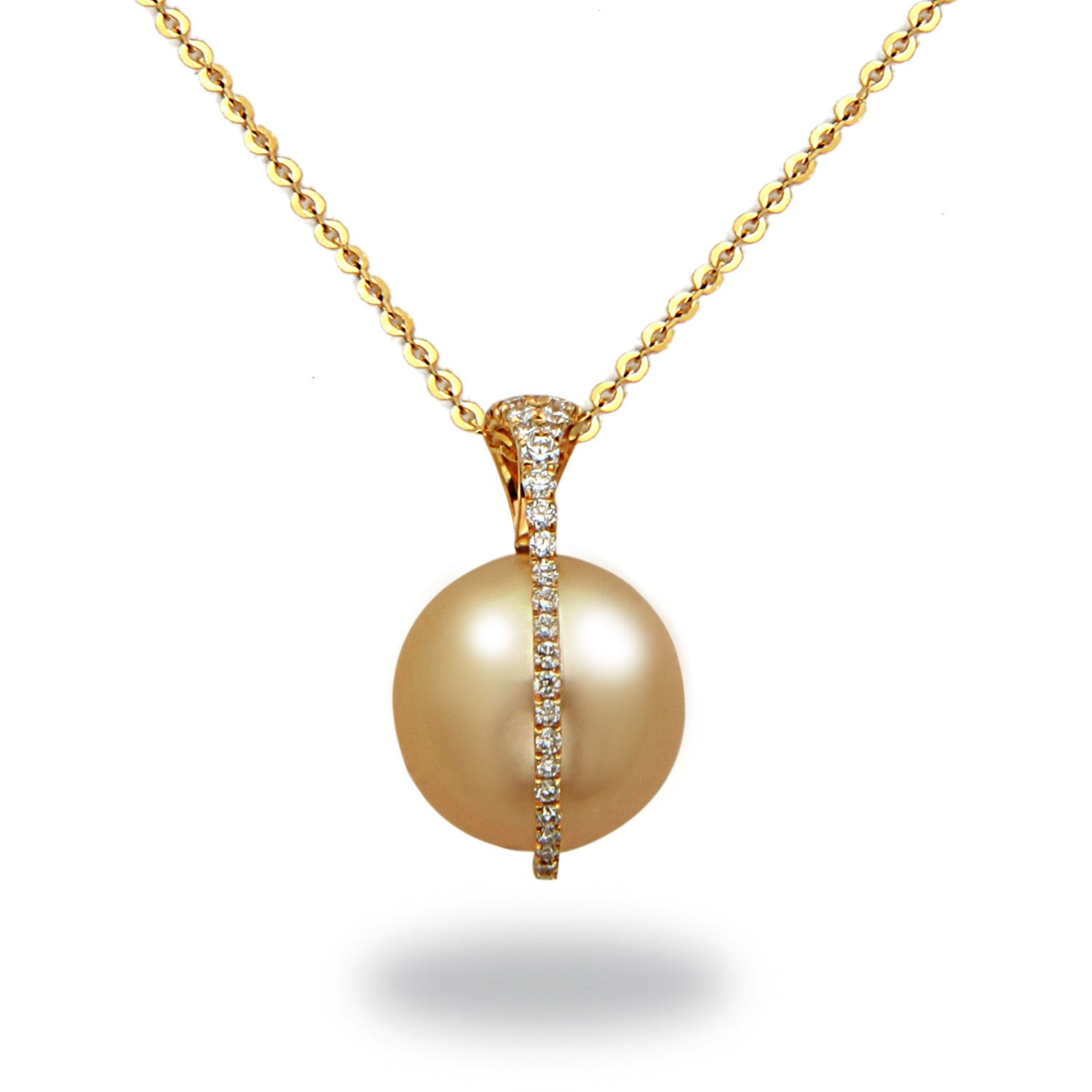 Galaxy Collection 11-12mm Golden South Sea Pearl and Diamond Pendant Necklace