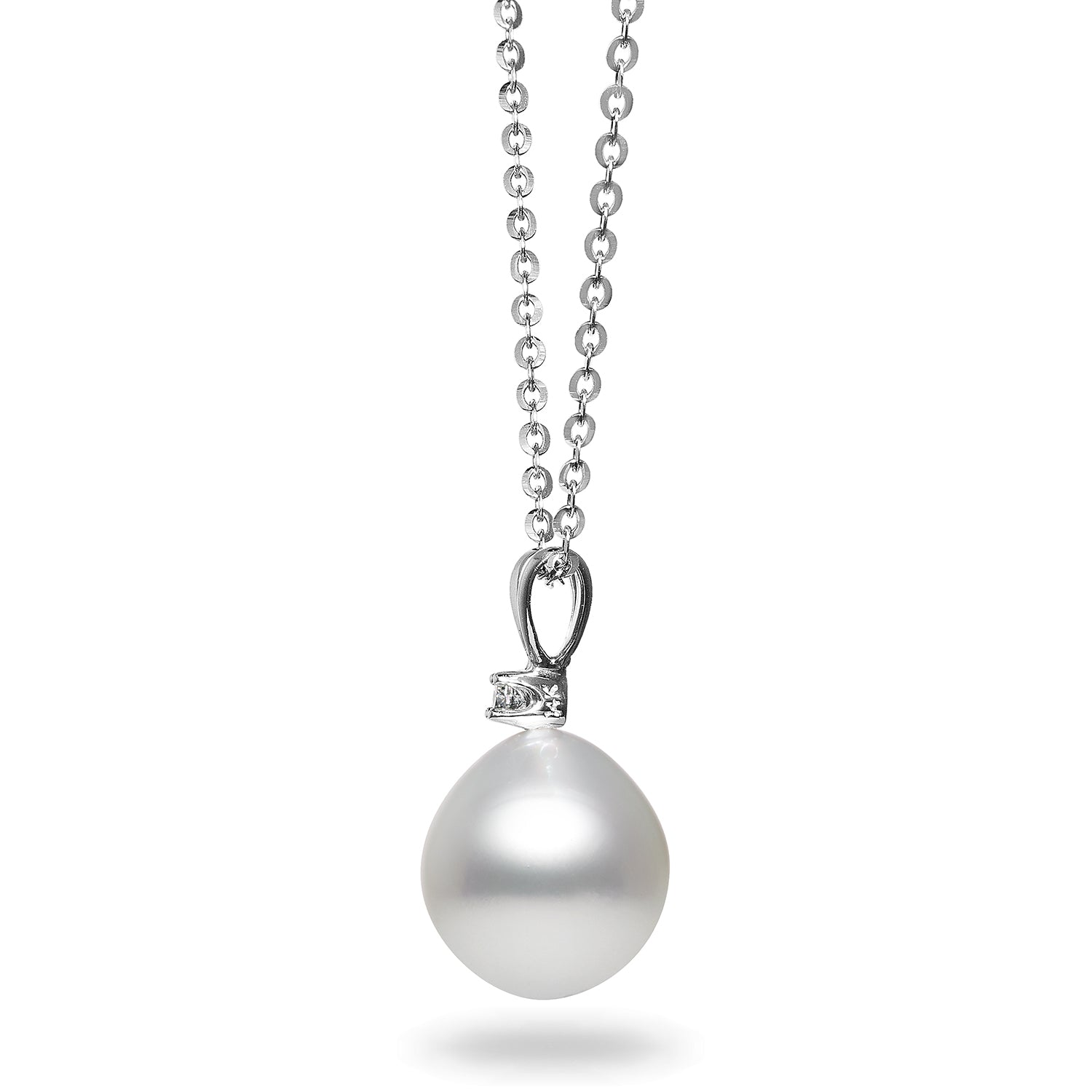 10-11mm White South Sea Pearl and Diamond Pendant