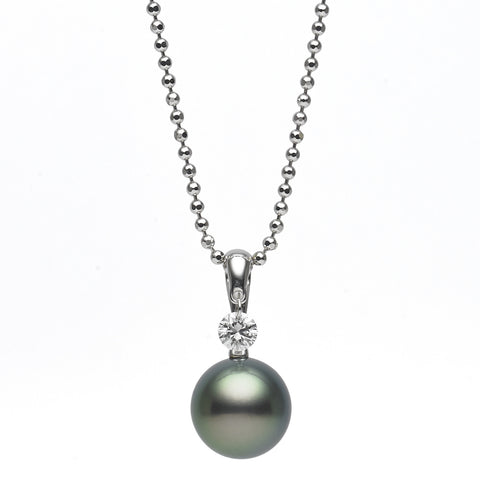 10-11mm Tahitian Pearl and Diamond Pendant