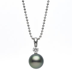 Dancing Diamond™ Collection 8-8.5mm Tahitian Pearl and Diamond Pendant