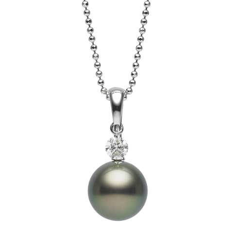 Dancing Diamond™ Collection 8-8.5mm Tahitian Pearl and Diamond Pendant Necklace