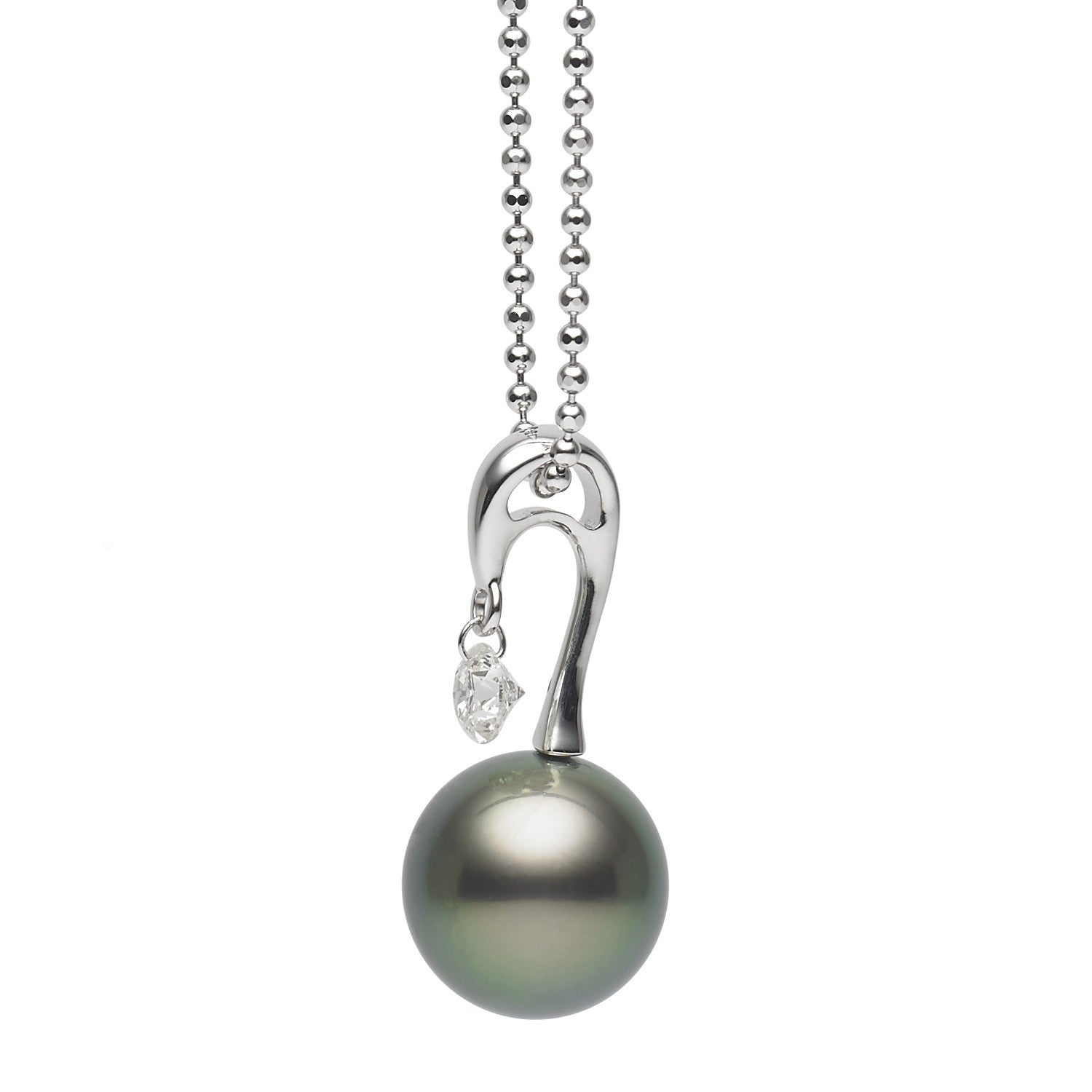 Dancing Diamond™ Collection 10-11mm Tahitian Pearl and Diamond Pendant Necklace