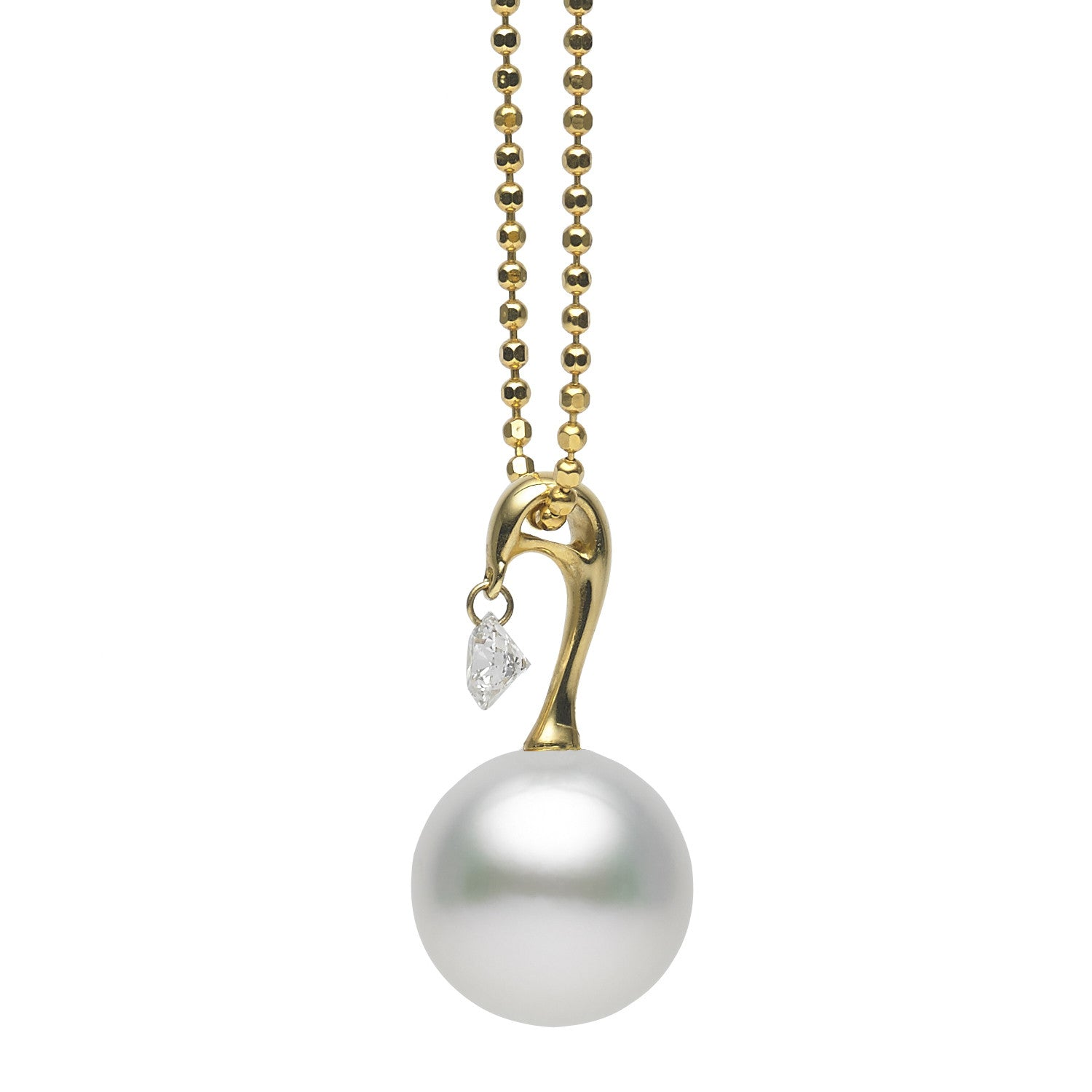 Dancing Diamond™ Collection 10-11mm White South Sea Pearl and Diamond Pendant Necklace