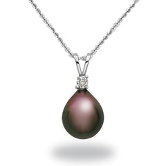 9-10mm Tahitian Cultured Pearl and Diamond Pendant