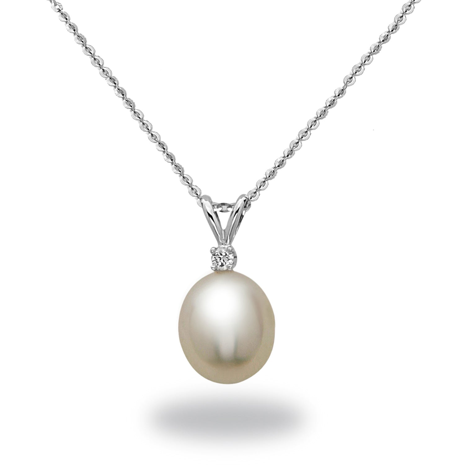 9-10mm White South Sea Cultured Pearl and Diamond Pendant