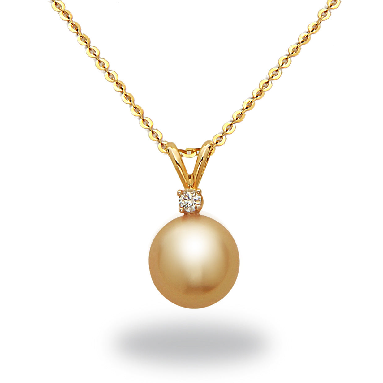 9-10mm Gold South Sea Cultured Pearl and Diamond Pendant Necklace