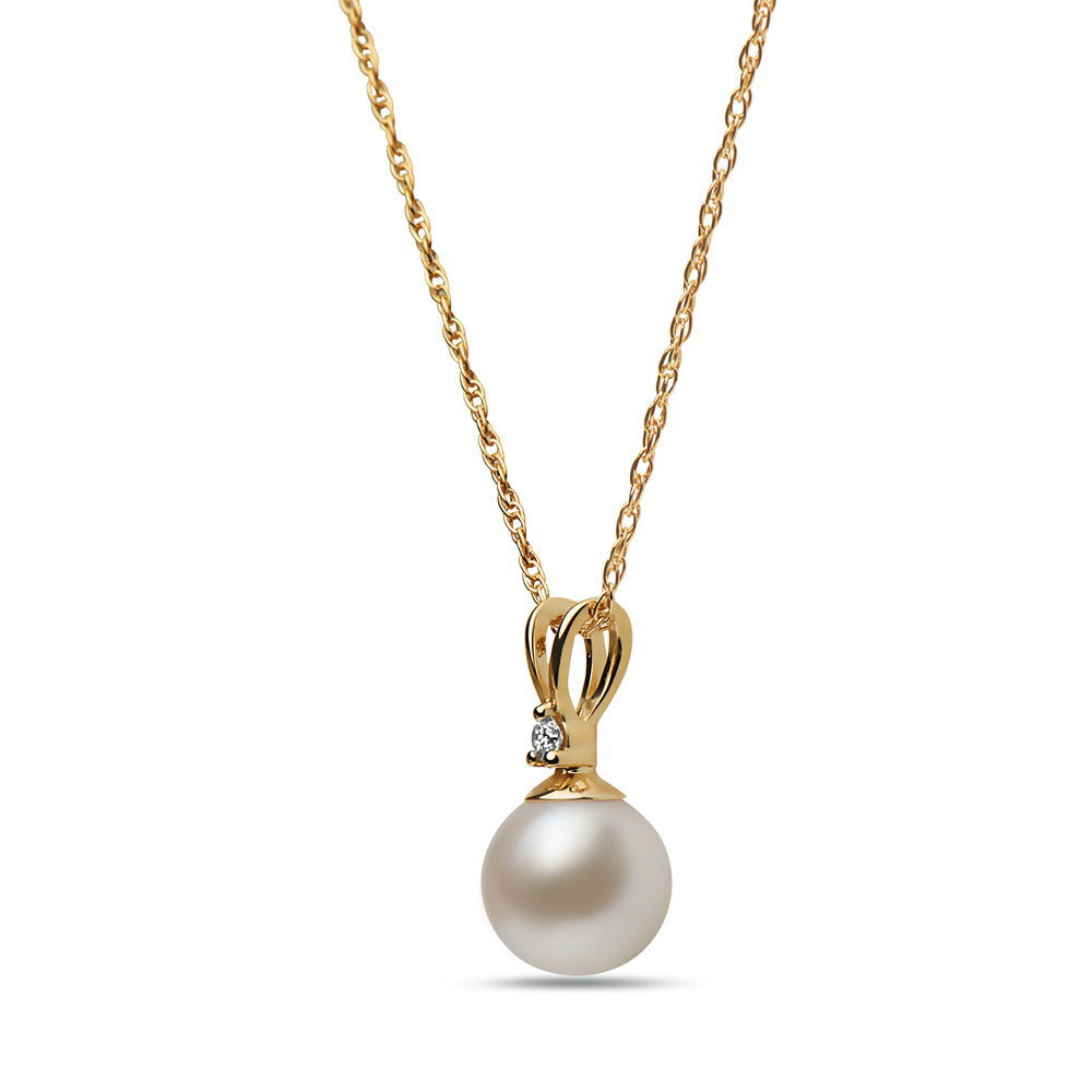 6.5-7mm Akoya Cultured Pearl and Diamond 14k Yellow Gold Pendant Necklace