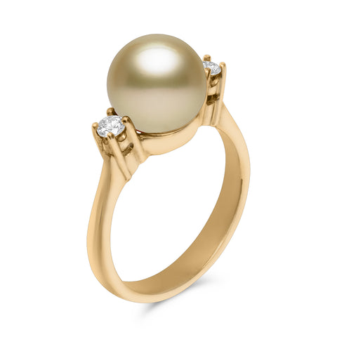 Classic Collection 14k 9-10mm Tahitian Cultured Pearl and Diamond Ring