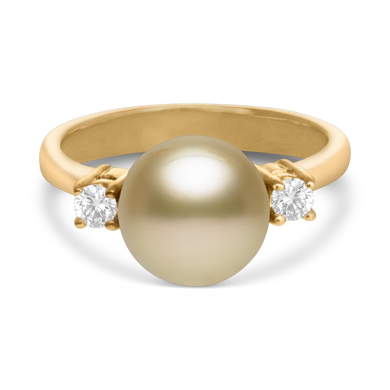 9-10mm Gold South Sea Cultured Pearl and Diamond Ring