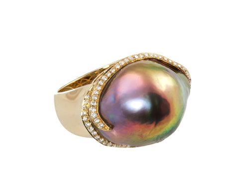 Museum 17-18mm Natural Color Tahitian Pearl, Diamond and Multicolor Stones Ring