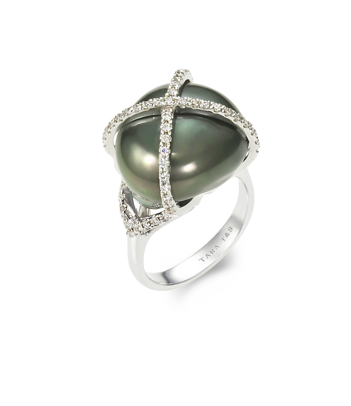 15-16mm Tahitian Pearl and Diamomd Ring