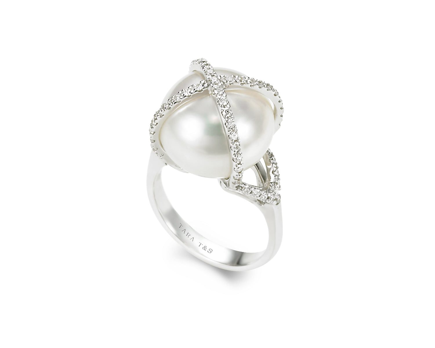 14-16mm White South Sea Pearl and Diamomd Ring