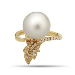 Leaf Collection 11-12mm White South Sea Pearl and Diamond Ring