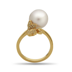 Leaf Collection 10-11mm White South Sea Pearl and Diamond Ring
