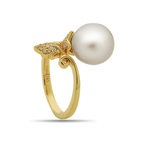 10-11mm White South Sea Pearl and Diamond Stud Earring