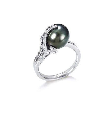 11-12mm Natural Color Tahitian Cultured Pearl and Diamond Earrings