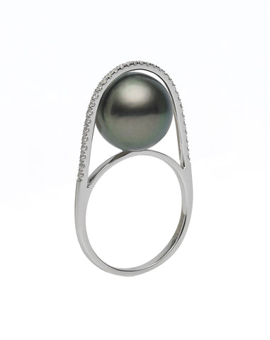 Galaxy Collection 10-11mm White South Sea Pearl and Diamond Earrings