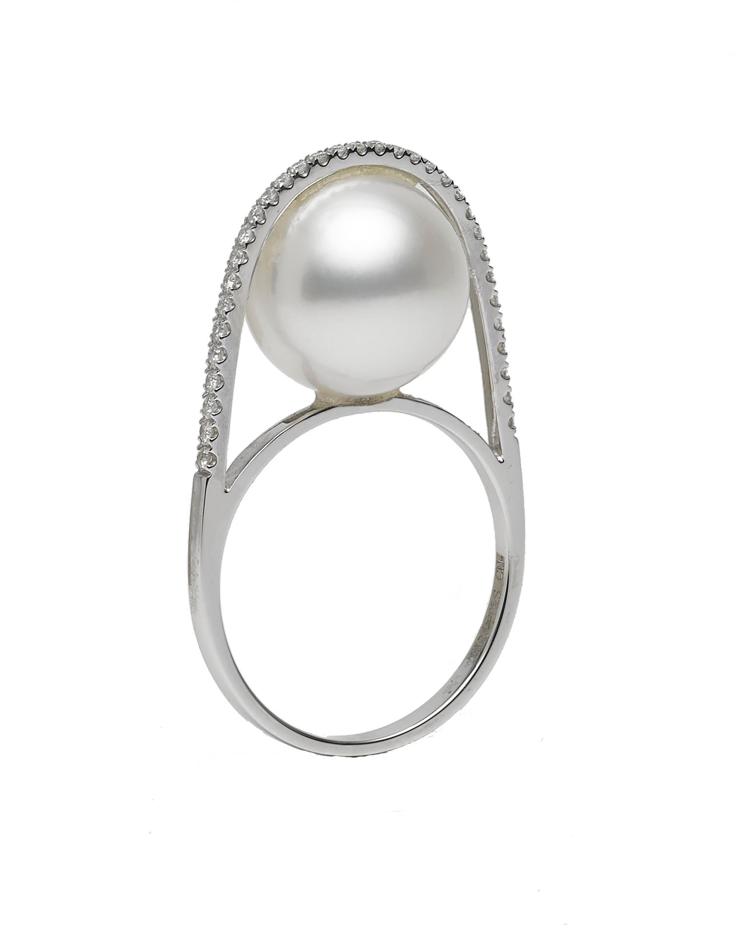Galaxy Collection 11-12mm White South Sea Pearl and Diamond Ring