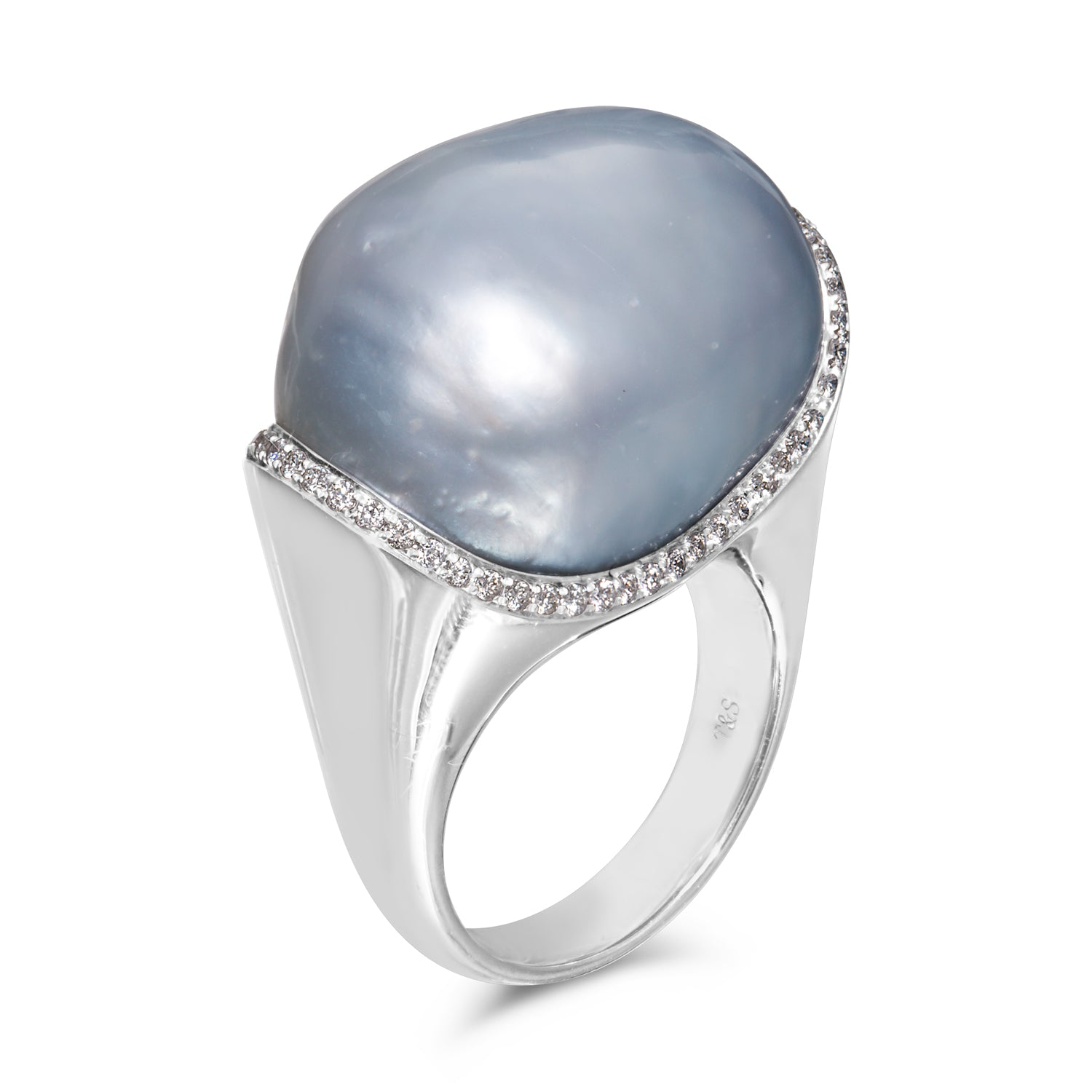 Museum 19-20mm  White South Sea Baroque Pearl and Diamond Ring