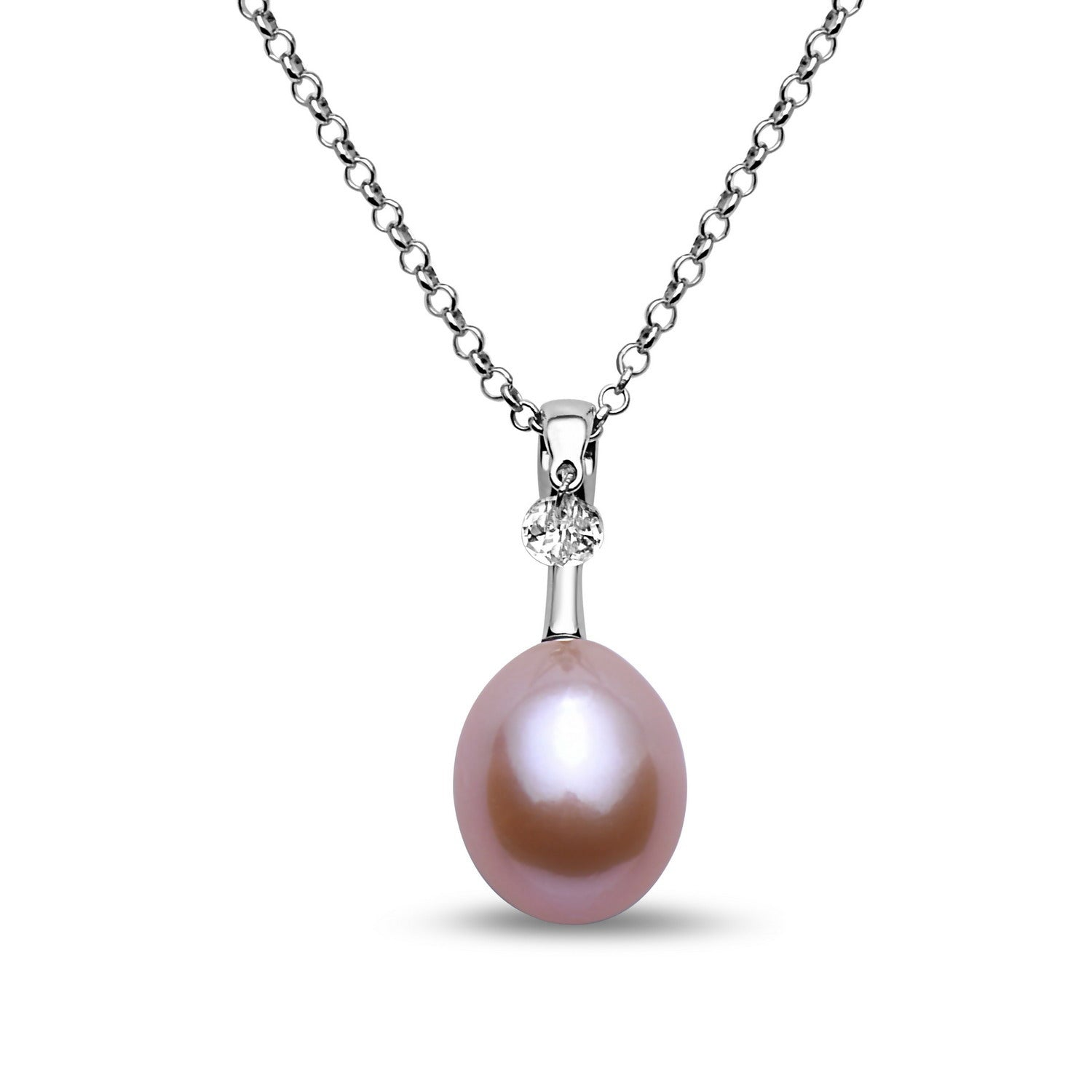 10-11mm Freshwater Pearl With  Dacing  White Topaz  Pendant