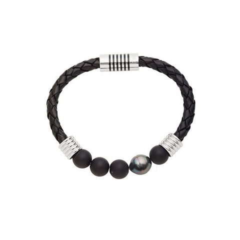 10-11mm Tahitian Circle Pearl and Agate Braided Leather Bracelet