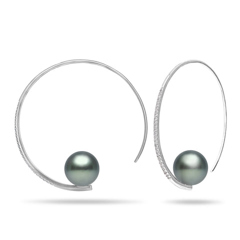 10-11mm Tahitian Pearl and Diamond Stud Earring