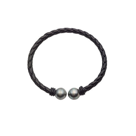 11-12mm Tahitian Circle Double Pearl Braided Leather Bracelet