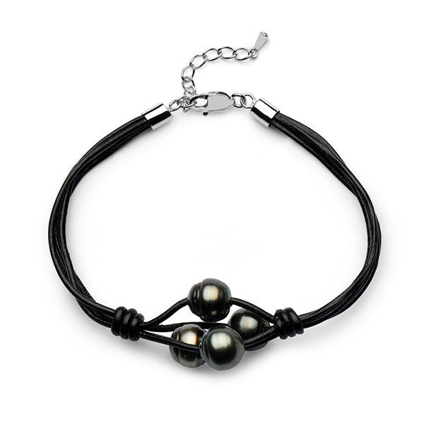 9-10mm Tahitian Circle Twisted Pearl Braided Leather Bracelet