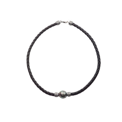 13-14mm Tahitian Circle Pearl Braided Leather Necklace