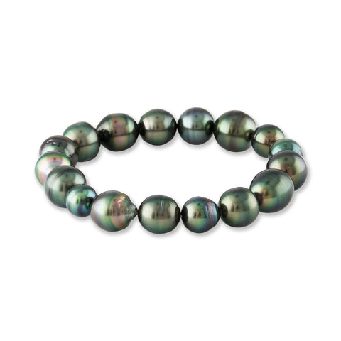 8-10mm Tahitian Cultured Baroque Pearl Stretchy Bracelet