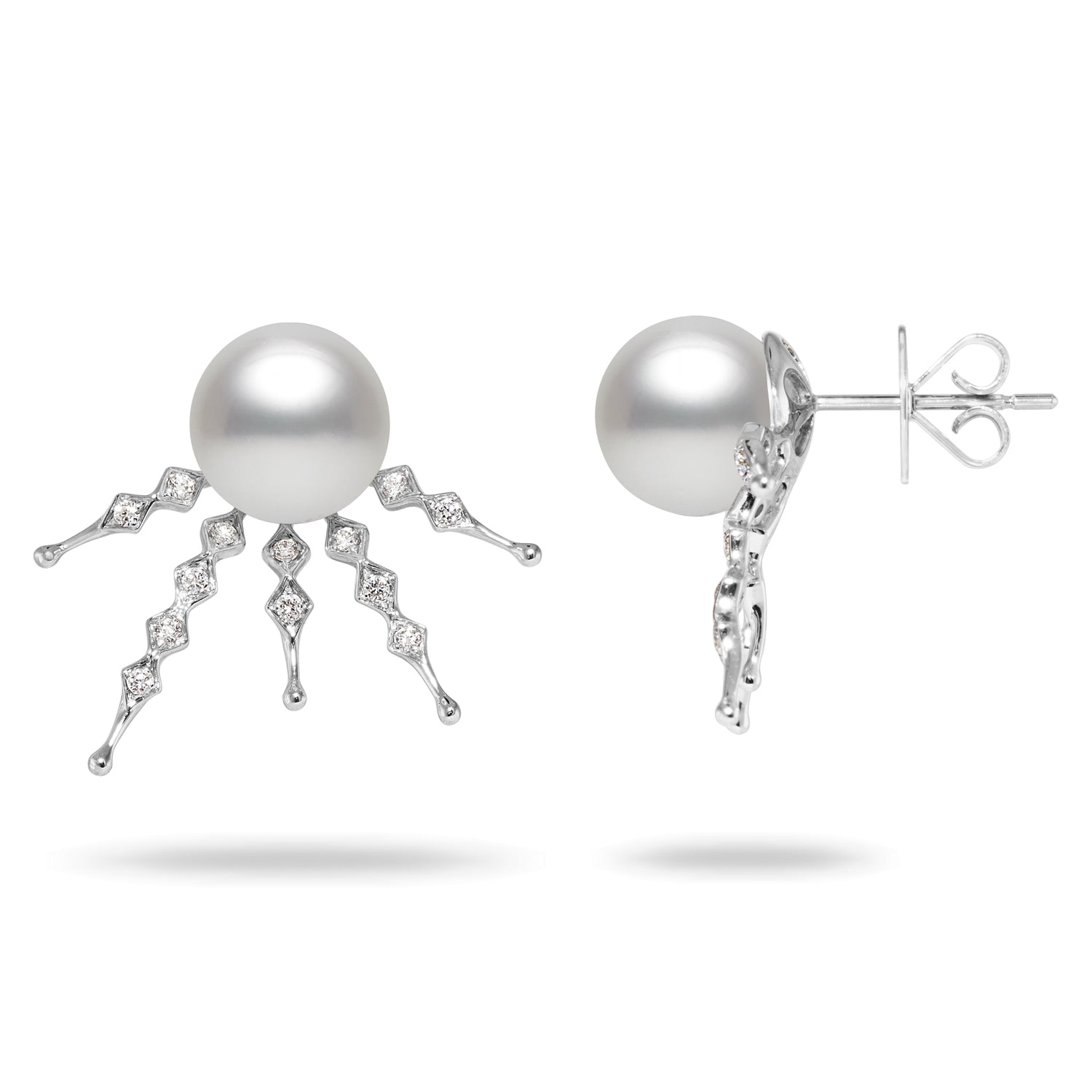 10-11mm White South Sea Pearl and Diamond Earrings