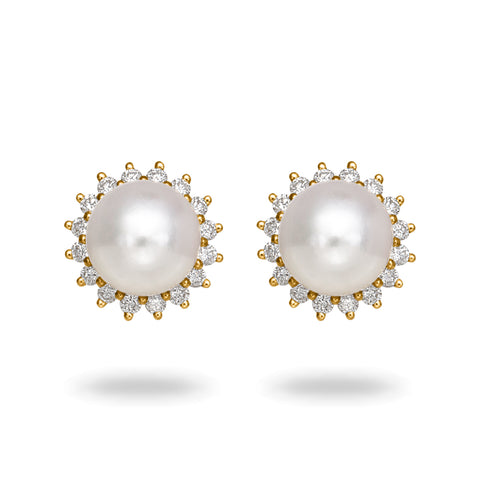 14k 8.0-8.5mm Akoya Cultured Pearl and Diamond Stud Earrings