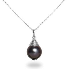 12-13mm Natural Color Tahitian Pearl 14K White Gold Pendant