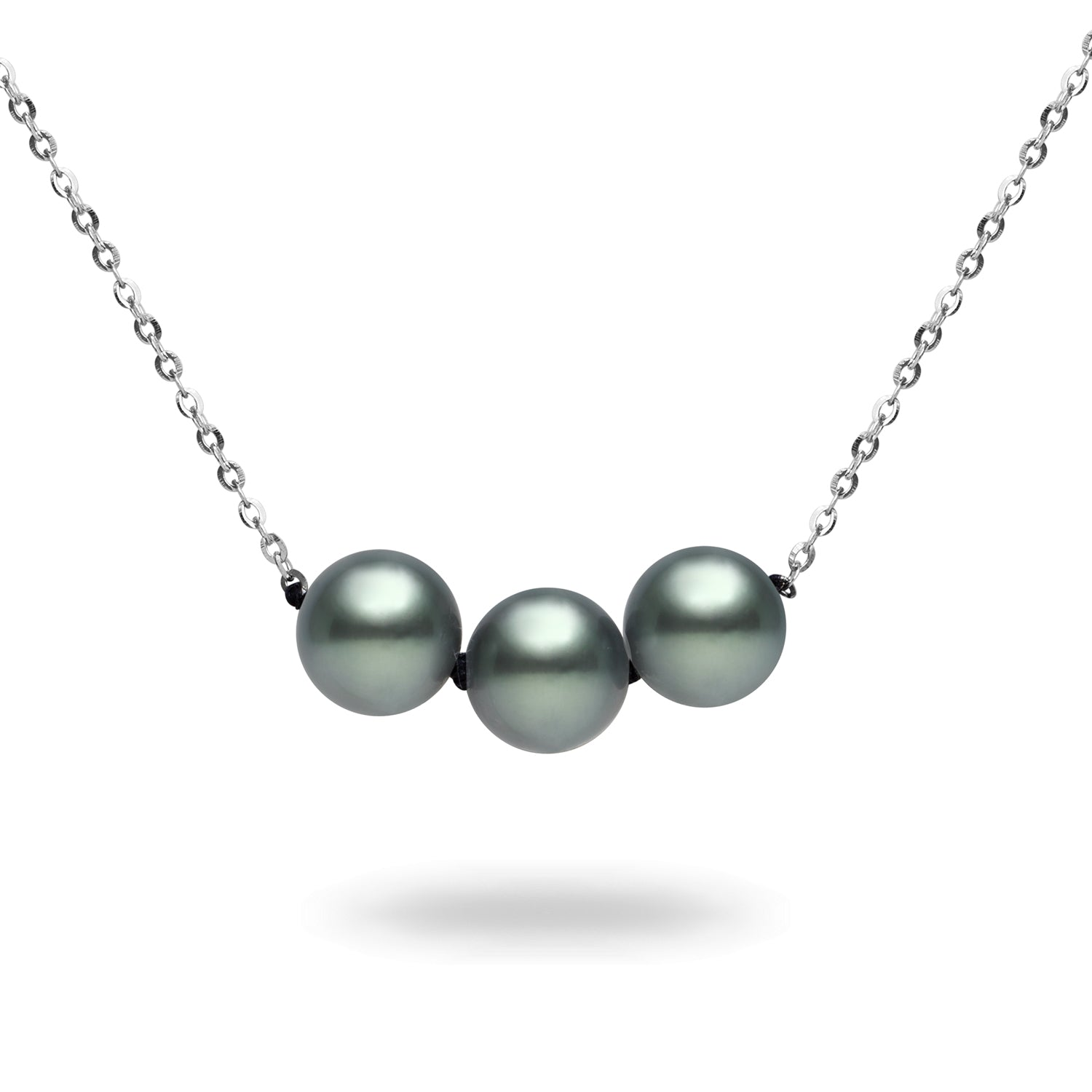 3 Pearl 8-9mm Natural Color Tahitian Pearl 14K Gold Necklace