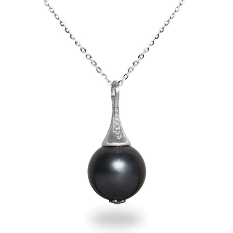 14-15mm Natural Color Tahitian Pearl and Diamond 14K White Gold Pendant Necklace
