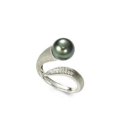 11-12mm Tahitian Pearl 18K White Brush Gold Ring