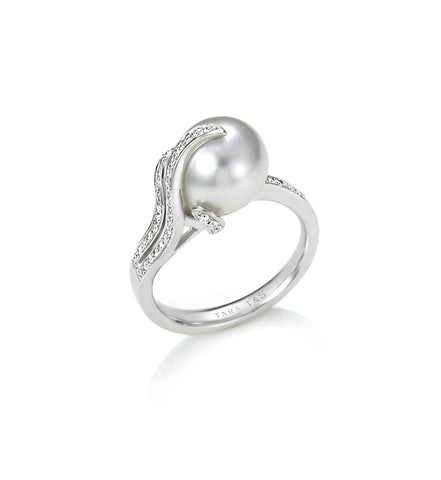 9-10mm White South Sea Pearl and Diamond Earring
